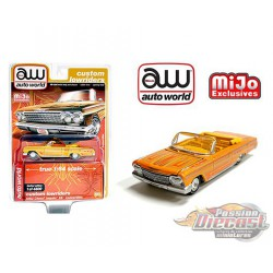 1962 Chevy Impala SS Convertible Metallic Yellow - Lowriders - Auto World 1/64 MiJo Exclusives - CP7739 - Passion Diecast