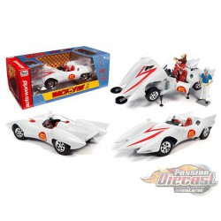 Speed Racer Mach 5 with Speed and Chim Chim figures  - 1/18 Auto World  AWSS124 -  Passion Diecast