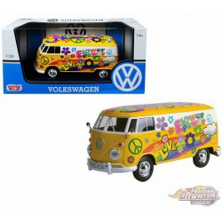 Volkswagen Type 2 T1 Delivery Van  Flower Power Yellow  -  Motormax 1-24 - 79575  - Passion Diecast