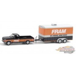 1994 Ford F-150 XLT with FRAM Oil Filters Enclosed Car Hauler - Hitch & Tow 21, 1/64 Greenlight - 32210 B - Passion  Diecast
