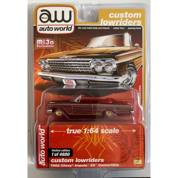 1962 CHEVY CHEVROLET IMPALA SS CONVERTIBLE LOWRIDER 1:64 SCALE DIECAST MODEL CAR