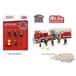 Firefighters Figurine 6 pieces Diecast  -  American Diorama 1-64 - 76468 MJ - Passion Diecast