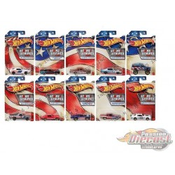 Hot Wheels 1:64  Stars & Stripes ''B''  Case  -  Assortment -  Set of 10 Cars - GJW63-999B - Passion Diecast