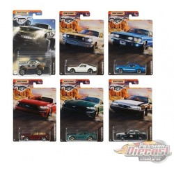 """Matchbox 1:64 Walmart Exclusive Ford Mustang  """"B""""  Case  -  Assortment -  Set of 8 Cars - GGF12-956B  - Passion Diecast"""