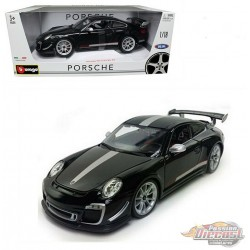 Porsche 911 GT3 RS 4.0 - Black with silver stripe - 1-18 Bburago 18-11036 BK  -  Passion Diecast