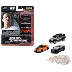 Fast & Furious  9  - set of 3 Hollywood Rides -  Jada Nano - 32481 - Passion Diecast