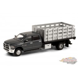 2018 Ram 3500 Dually Stake Truck in Granite Crystal - Dually Drivers  6 - Greenlight 1-64 - 46060 E  -  Passion Diecast