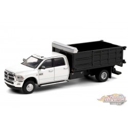 2018 Ram 3500 Dually Landscaper Dump Truck White - Dually Drivers  6 - Greenlight 1-64 - 46060 D -  Passion Diecast