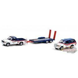 Racing Hitch & Tow 3 - 1992 Ford F-150 and 1992 Ford Bronco - 1/64 GREENLIGHT - 31110 A