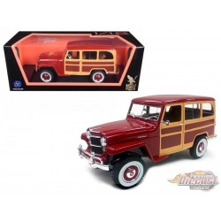 1955 Willys Jeep Station Wagon - Burgundy - 1/18 Road Signature - 92858 BG - Passion Diecast