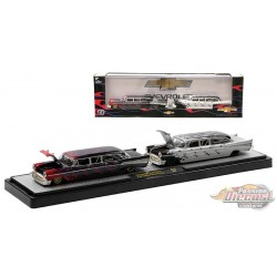 1957 Chevy Bel Air  Black Pearl / Flames and 1957 Chevy Bel Air in Flat Silver and  Black / Flames -  M2 1/64 - 36000 43  A