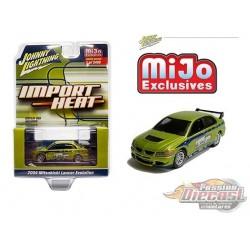 2004 Mitsubishi Lancer Evo Custom Green - Import Heat - Johnny Lightning 1:64 -  JLCP7248 - Passion Diecast
