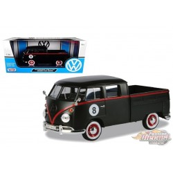 Volkswagen Type 2 T1 Double Cab Pickup Matte Black  -  Motormax 1-24 - 79562 - Passion Diecast
