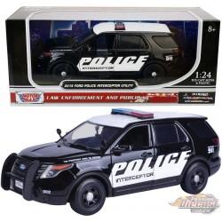 2015 Ford Police Interceptor Utility PROMO W/ Light Bar Black & White - Motormax 1/24 - 76954 - Passion Diecast