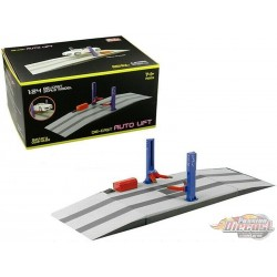 Two Post Lift  électric Blue and Red - MiJo 1/24 - 9908  - Passion Diecast