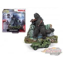 Godzilla Facade- Willys Jeep MB Japan Police Green - Johnny Lightning -  1:64 - JLSP065 - Passion Diecast
