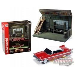 Darnell's Garage Diorama with 1958 Plymouth Fury  - Auto World  Scenic Display - 1:64 - AWSD001  - Passion Diecast