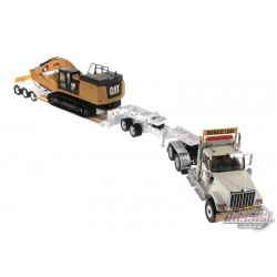 International HX520 Tractor with XL 120 HDG Lowboy Trailer and Cat 349F L XE Hydraulic Excavatorr - Diecast Master 1/50 - 85600