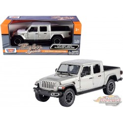2021 Jeep Gladiator Overland Hard  Top Silver - Motormax 1/24 - 79367 SIL - Passion Diecast
