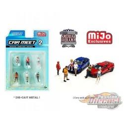 Car Meet n°2 Figurine 6 pieces Diecast  -  American Diorama 1-64 - 76471 MJ  - Passion Diecast
