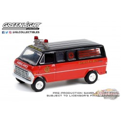 1969 Ford Club Wagon Ambulance - Chicago Fire Department - Hobby Exclusive - 1/64 Greenlight 30242