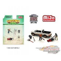 Gardener set Figurine 6 pieces Diecast  -  American Diorama 1-64 - 76476 MJ