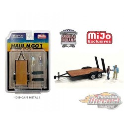 Haul N Go Trailer Set 1 With 2 Figures  -  American Diorama 1-64 - 38377 MJ - Passion Diecast