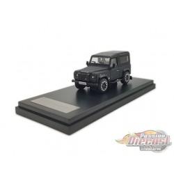 2018 Land Rover Defender 90 works V8 70th Edition Diecast model car - Matt Black - LCD Models 1:64 - 64016-MBL -Passion Diecast