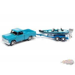 1965 Chevy Stepside Pickup Turquoise, Blue, and White with Bass Boat and Trailer - Johnny Lightning  1:64 - JLBT015 JLSP203 B