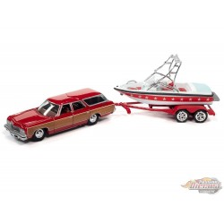 1973 Chevy Caprice Woody Wagon White and Red with Mastercraft Boat and Trailer - Johnny Lightning 1:64 - JLBT015 -  JLSP204 B
