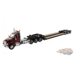 Kenworth T880 SFFA Day Cab Tridem Tractor in Radiant Red with XL 120 Lowboy HDG Trailer - Diecast Master  1/50 -  71060