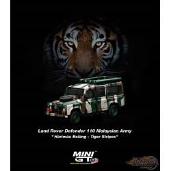 "Mini GT - 1:64 - Land Rover Defender 110 Malaysian Army "" Harimau Belang""  - Mijo Exclusives USA  -  MGT00321-R"