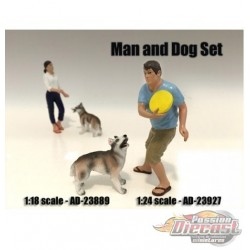 Man and Dog – John - AMERICAN DIORAMA FIGURES - 1/18 - AD-23889  Passion Diecast