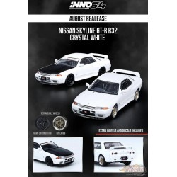 Nissan Skyline GT-R R32 White w/ 12 Wheels & Decal - Tarmac Works - 1/64 - IN64-R32-WHI - Passion Diecast