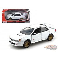 2005 Subaru Impreza WRX STi White Metallic -  Motormax 1/24 - 73330 WH - Passion Diecast