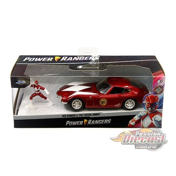 Power Ranger Red Ranger & 1967 Toyota 2000GT Red - Hollywood Rides  -  Jada 1/32 - 33074 -  Passion Diecast