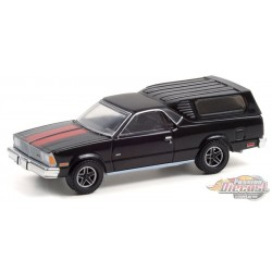 1981 Chevrolet El Camino with Camper Shell in Black with Red Stripes - Hobby Exclusive - 1/64 Greenlight - 30310