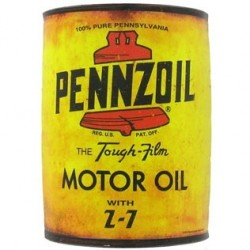 Yellow Pennzoil Metal Half Oil Can Wall Décor